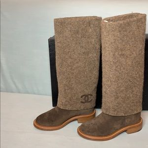 CHANEL High Boots Suede Calfskin Size 36.5